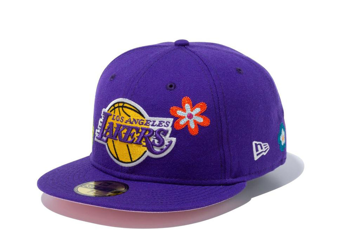 New Era 59FIFTY Chain Stitch Floral Los Angeles Lakers Pink Under Visor Purpleの写真