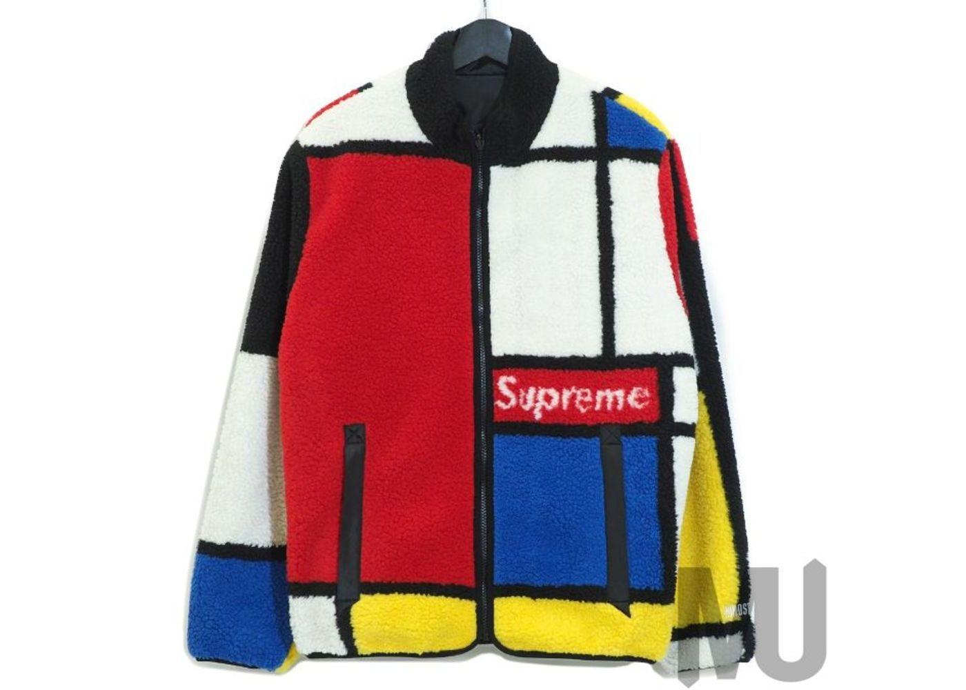 Supreme Reversible Colorblocked Fleece Jacket Redの写真