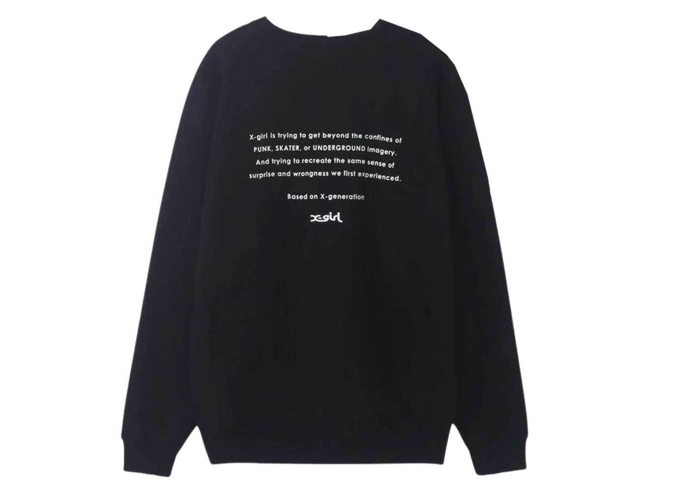 X-girl Face Embroidery Crew Sweat Top Blackの写真