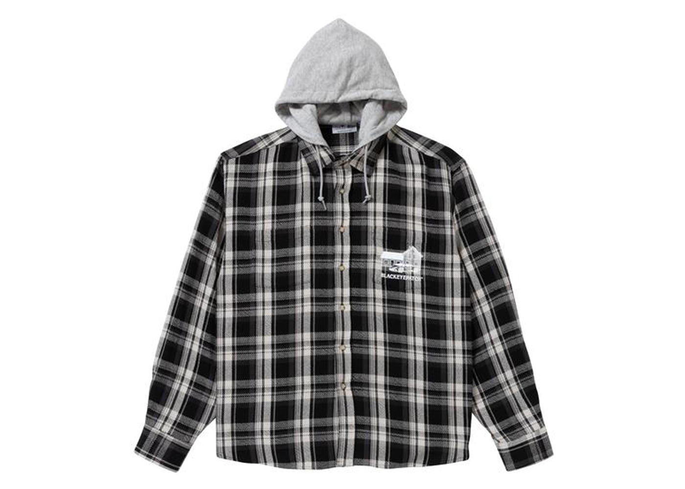 The Black Eye Patch Hooded Flannel Shirt Black / Gray (FW21)の写真