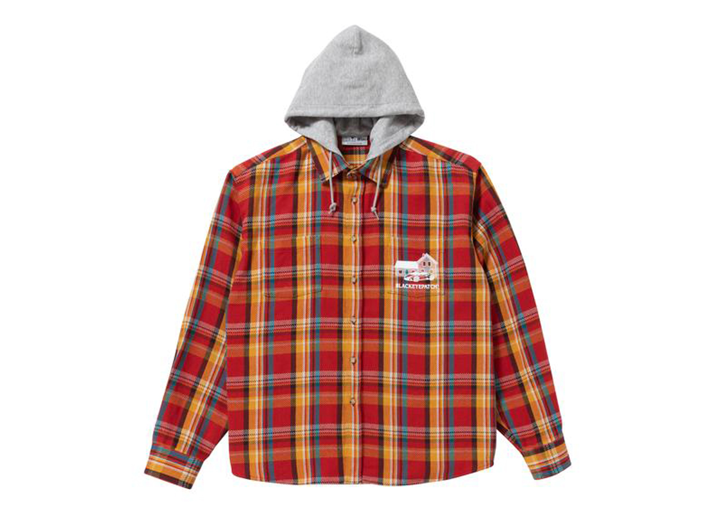 The Black Eye Patch Hooded Flannel Shirt Maroon / Amber (FW21)の写真