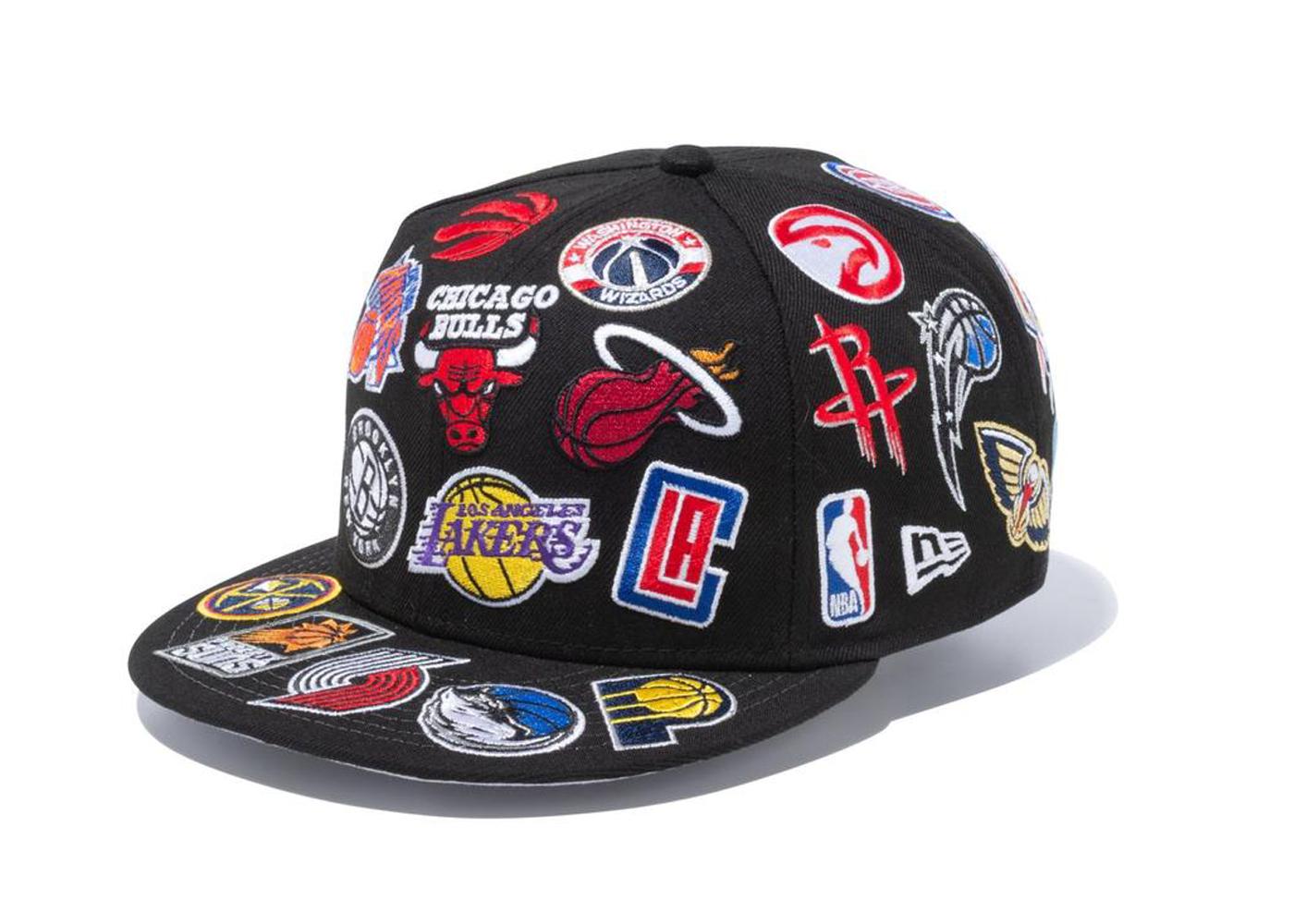 New Era 9FIFTY Team Logo All Over NBA Blackの写真