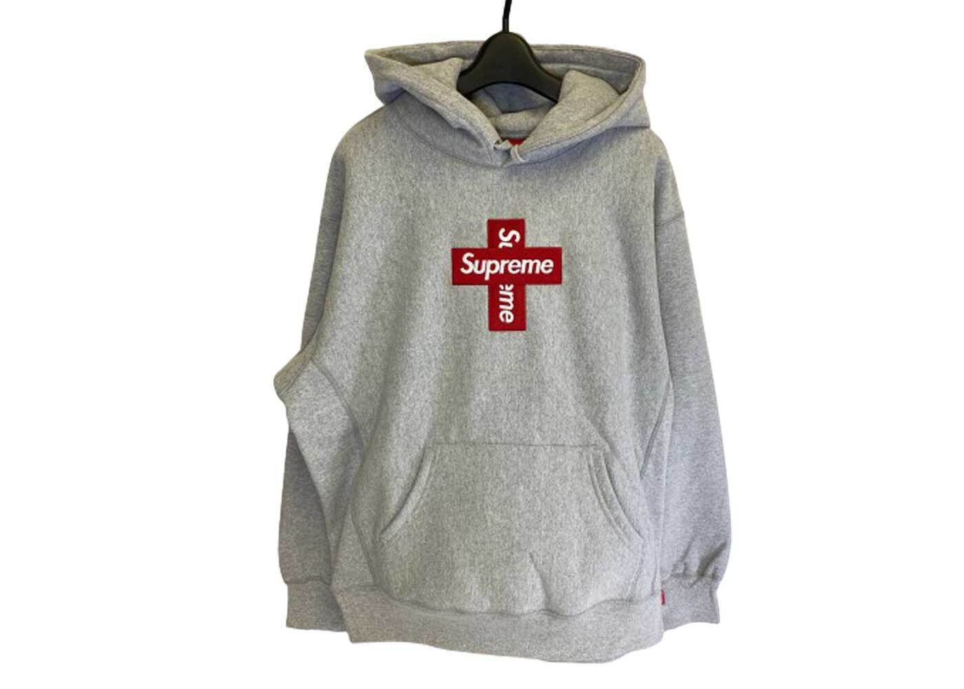 Supreme Cross Box Logo Hooded Sweatshirt Heather Greyの写真