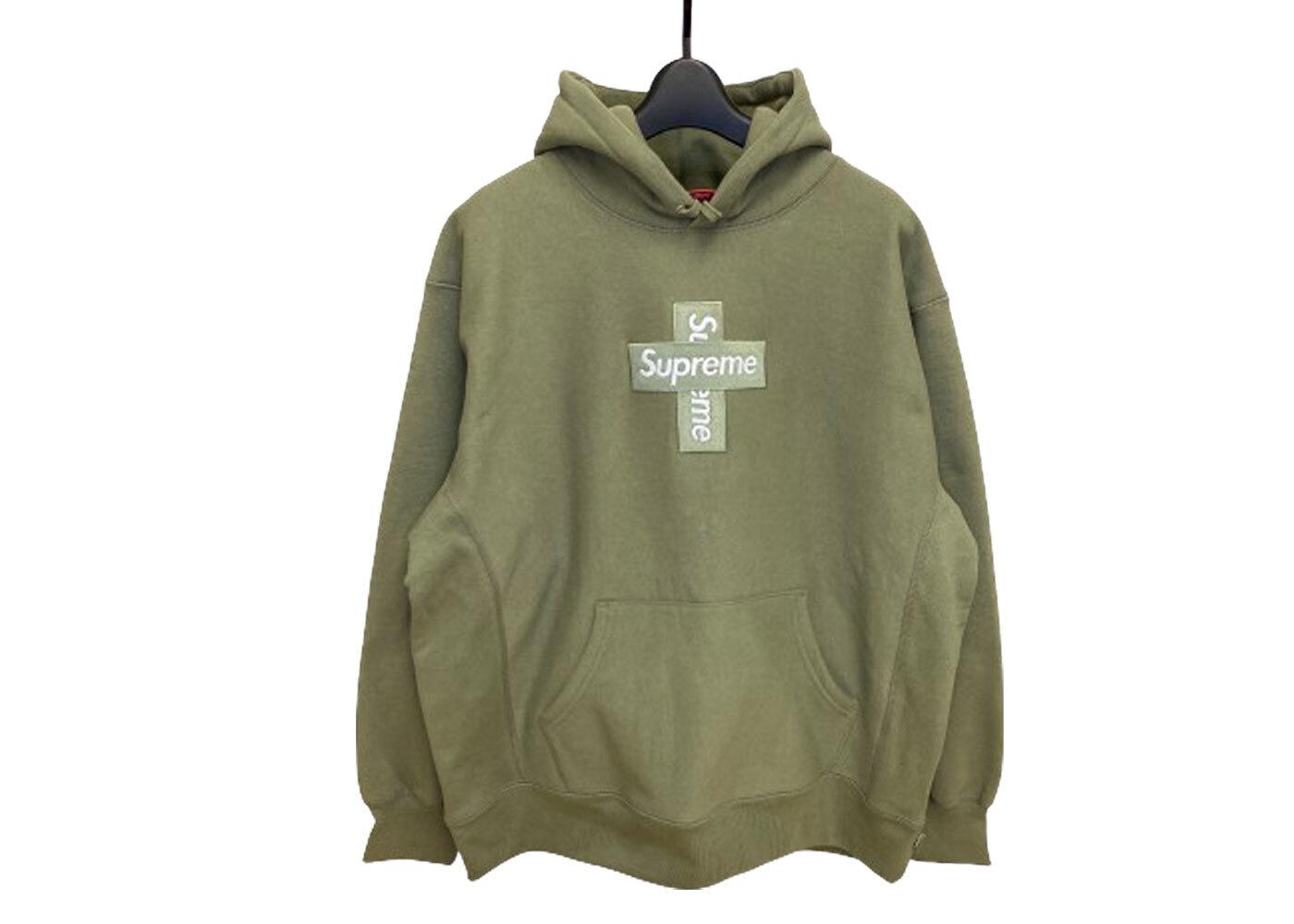 Supreme Cross Box Logo Hooded Sweatshirt Light Oliveの写真