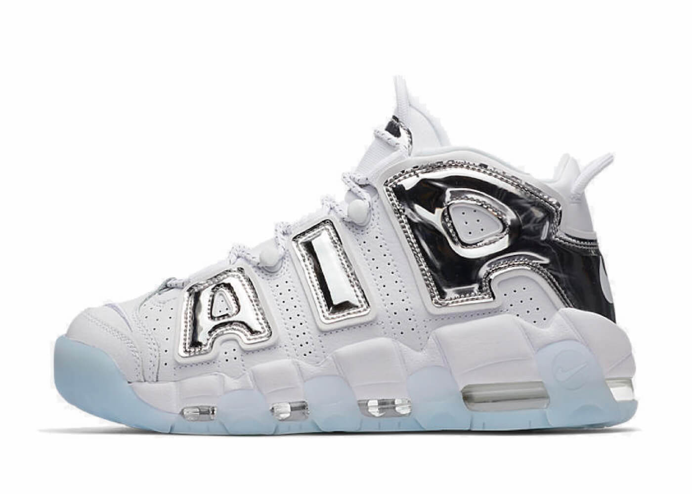 AIR MORE UPTEMPO CHROME WHITE/SILVER Womensの写真