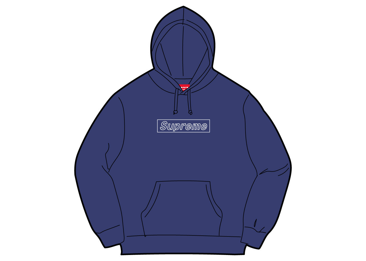 Supreme KAWS Chalk Logo Hooded Sweatshirt Washed Navyの写真