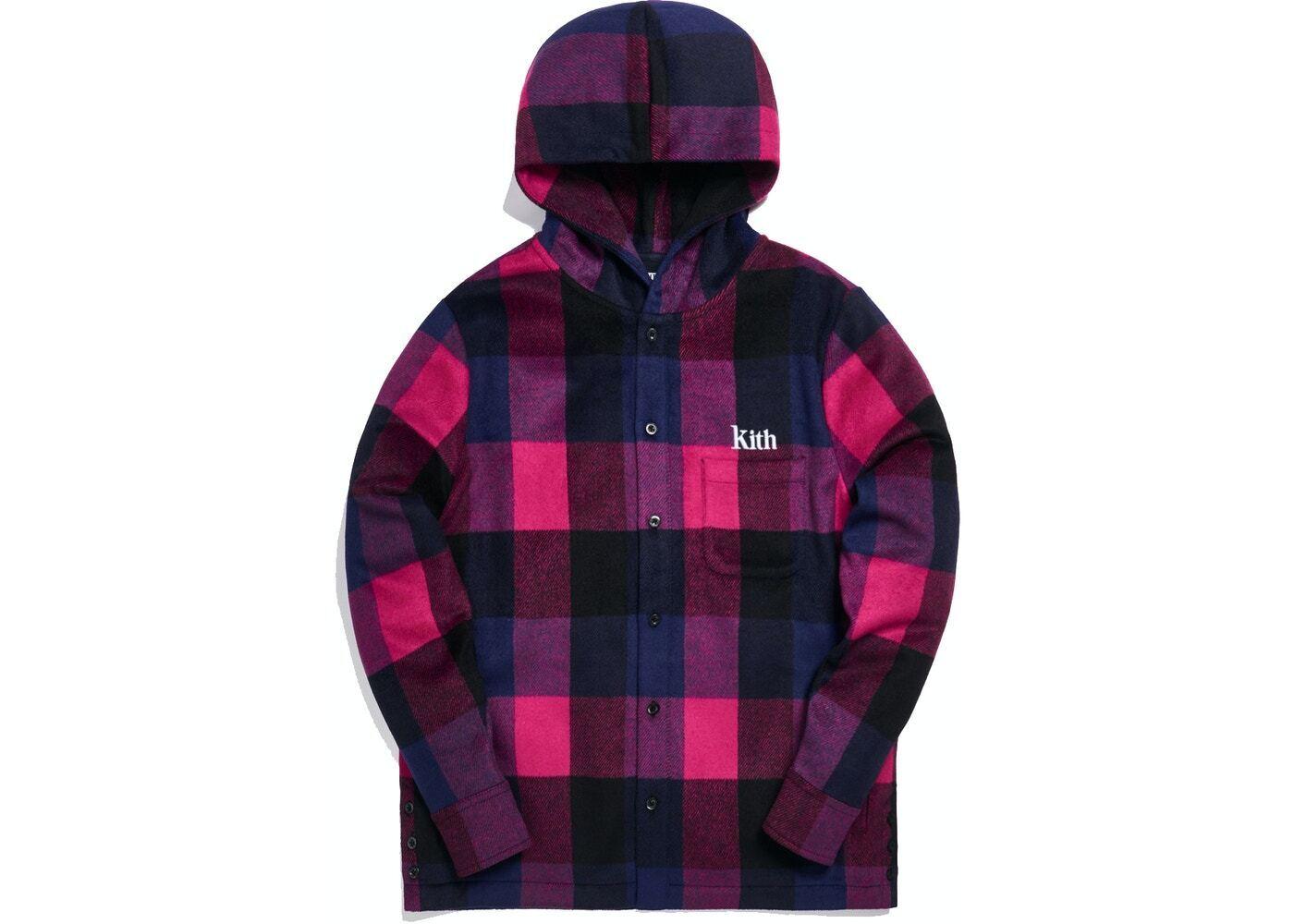Kith Plaid Wool Ginza Hooded Shirt Pinkの写真