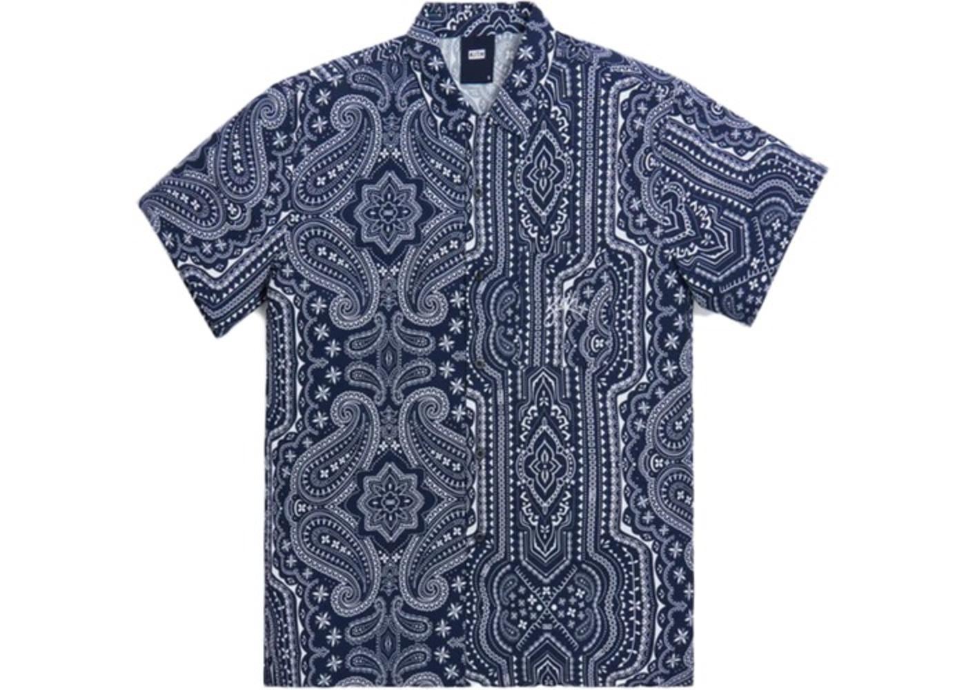 Kith Camp Collar Silk Cotton Shirt Navy/Multi の写真