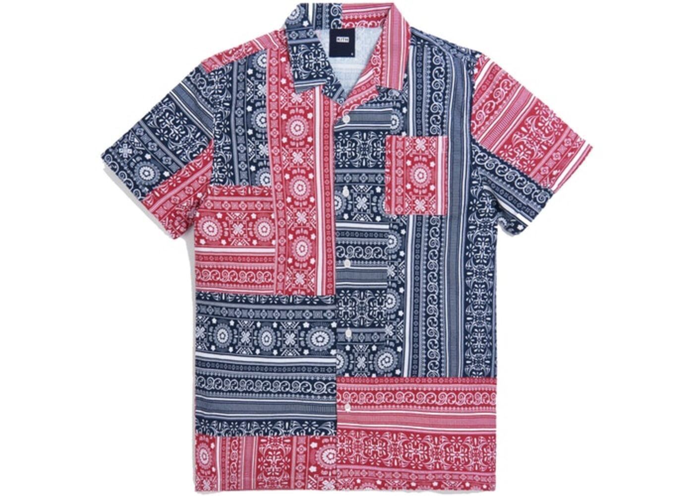 Kith Patchwork Camp Shirt Red/Navy Multi の写真